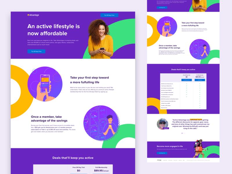 AA Landing Page webdesign website lifestyle purple membership active product design ux design ui design landingpage