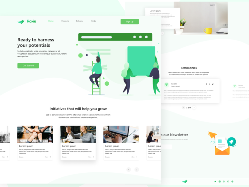 Roxie gradient layout newsletter card human resources logo vector user interface userinterface landing page design landing page illustration branding