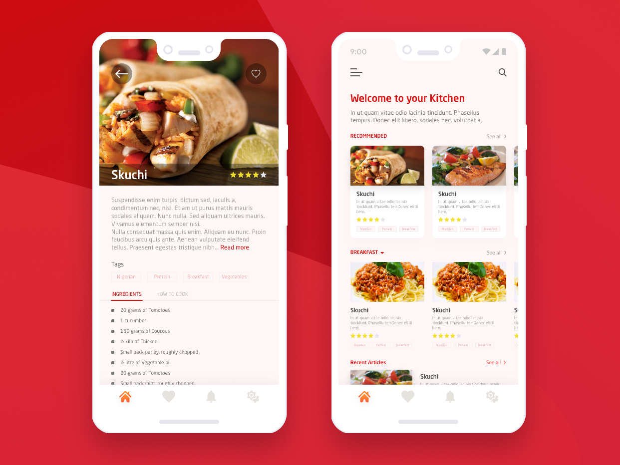 Recipe pixel food card gradient user inteface recipe