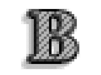 B-Baskervilleee drop shadow letter b b letter dots pattern type halftone