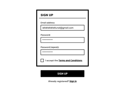 Daily UI #001 – Sign Up simple fill stroke ui black and white sign up
