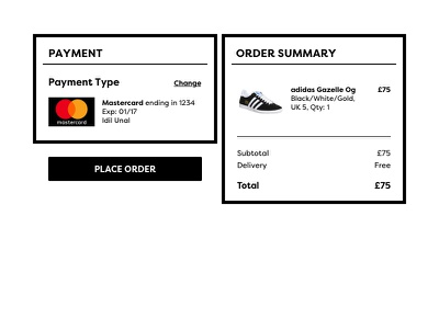 Daily UI #002 – Credit Card Checkout ux ui card bank order checkout credit card payment gazelle adidas
