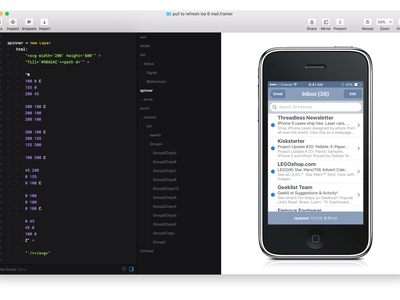 Day 3: My 1st SVG Animation framer100 ios mail pull to refresh spinner svg animation svg framer