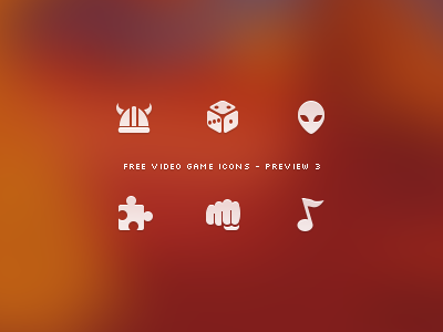 Video Game Icon Set - Preview 3 icon icons video game games free freebie preview videogame videogames set helmet horn viking dice alien scifi science fiction puzzle fist fight beat up note tone music
