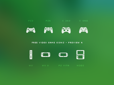 Video Game Icon Set - Preview 4 icon icons video game games free freebie preview set videogame videogames playstation play station 3 4 xbox one 360 wii nintendo wii u vita ps 3ds xl handheld console ps4 ps3