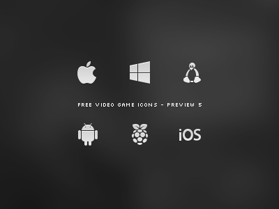 Video Game Icon Set - Preview 5 mobile os system operating ios pi raspberry android linux windows 8 windows apple videogames videogame set preview freebie free games game video icons icon win