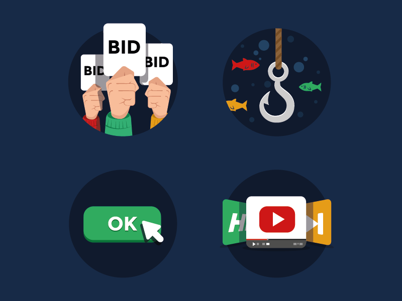Icons for SponsorPay.com sponsorpay icons iconset flat animated fish hook youtube video button hands