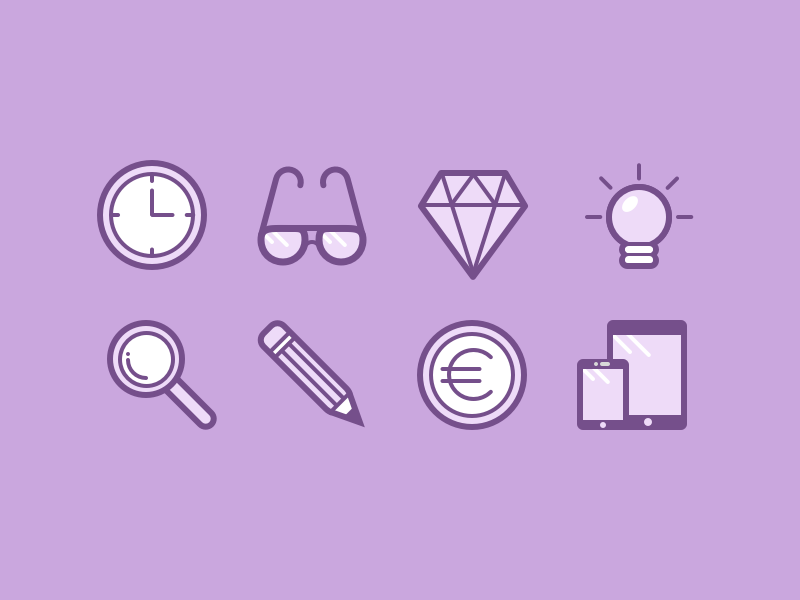 Icons for upcoming project - Part 2 clock glasses diamond bulb zoom pencil pen coin device mobile icon flat