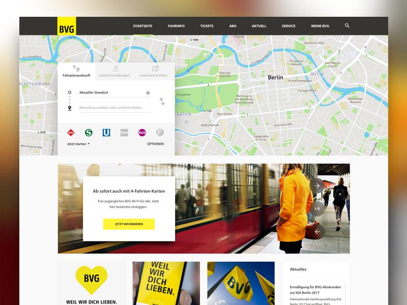 BVG Redesign germany navigation website webdesign ux ui redesign concept public transport transportation berlin bvg