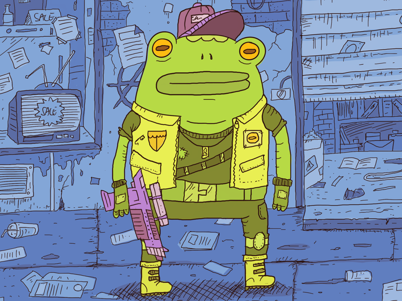 Cyberpunk Frog gun green blue cyberpunk character toad sketchbook illustration frog