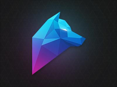 Polygon Wolf polygon wolf geometric logo character gradient shading triangles