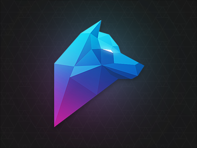Polygon Wolf polygon wolf geometric logo character gradient shading triangles