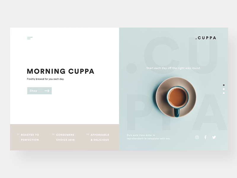Cuppa Coffee! website webdesign unsplash ux ui photography minimalism coffee landing screen landing page flat