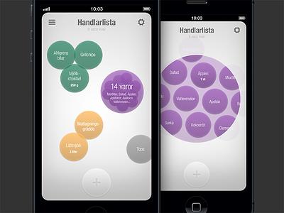 Popshop - grouped items iphone app flat ui shopping list todo folder