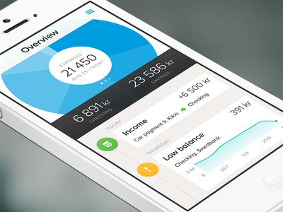 Tink - Overview iphone app flat ui finance economy stats chart mobile