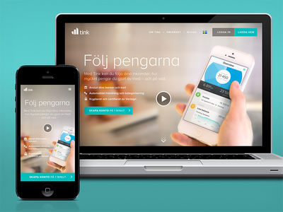 Tink - The release! iphone app flat ui finance economy landing web
