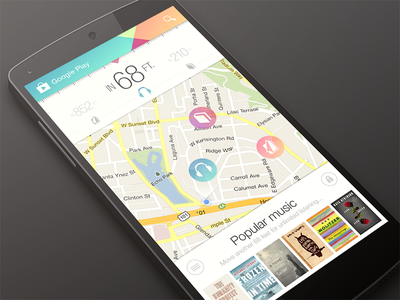 Play Anything Live android google music map ui design flat