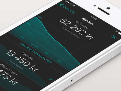 Tink - Accounts iphone app flat ui finance economy stats chart mobile