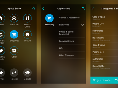 Tink - New categorization iphone app flat ui finance economy mobile