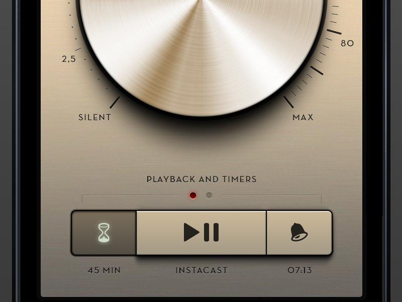 Bed Radio App volume knob dial button metal