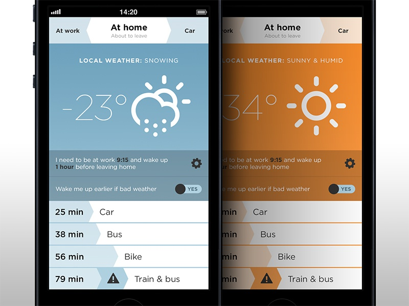 Jojo - transportation app weather ui flat design iphone app