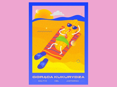 Gorąca Kukurydza baltic sea freetime holiday summer corn beach vector typography color graphicdesign illustration