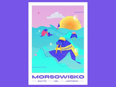 Morsowisko animals pattern sea baltic jastarnia branding typography vector graphicdesign color illustration