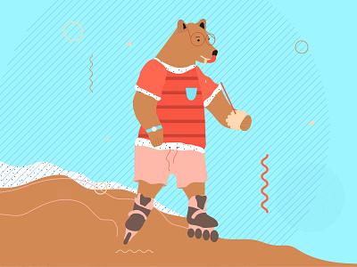 Bear skateboarding honey kids bear animals pattern design vector color graphicdesign illustration