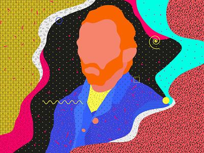 Van Gogh graphicdesign classic vangogh painting pattern flat vector illustration fashion