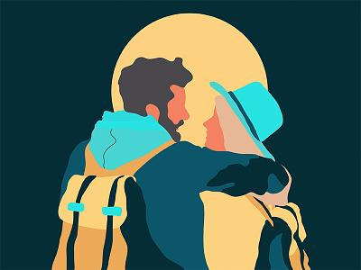 Together graphic design vector love illustration couple together