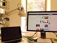 Office Desk desk office display mac macbook work desktop
