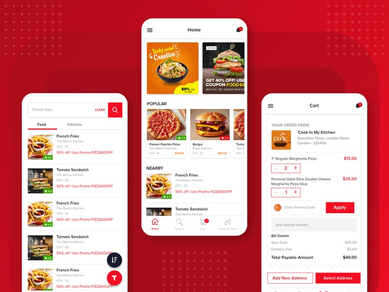 Food Delivery App branding app designer kitchen burger app food app ui design food delivery app food app food app ui