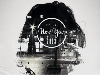 Double Exposure - Happy 2013 typography photography double exposure black and white lights night happy 2013 city behance