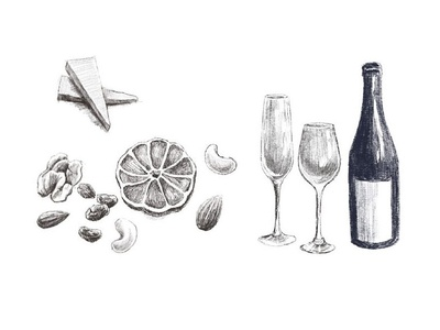 wine&appetizers Illustrations / ワインとおつまみのイラスト