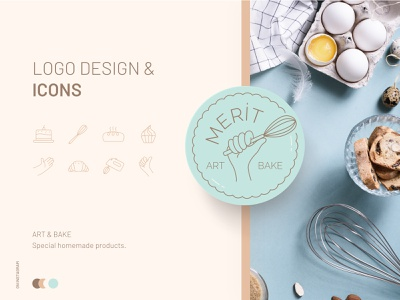 Merit Art & Bake icon bakery mint branding logo design