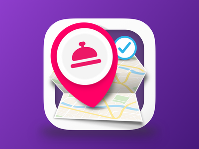 App Icon create rezervation purple pin pink ios icon