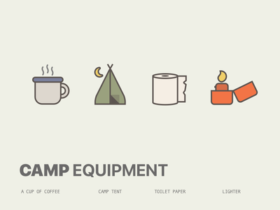 Let's Go Camping freebie create paper coffee lighter tent camp sketch icon