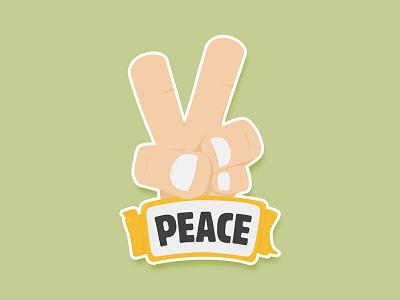 Peace orange cartoon hand peace sticker