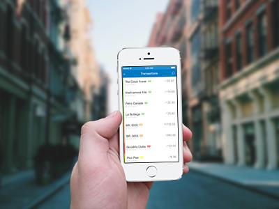 Bank Of Montreal iOS App ui iphone app ios mobile minimal simple bank blue menu sidebar icons