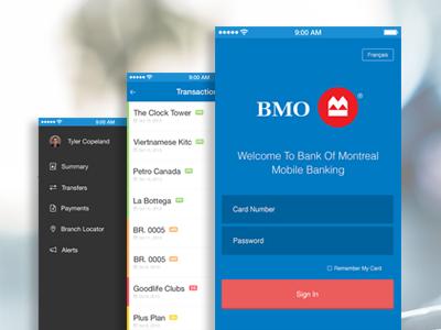 Bank Of Montreal Mobile App login ui design ios app blue iphone mobile bank simple