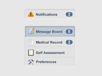 Website Navigation website navigation design grey ui notifcations blue