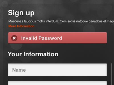 Error Message design form signup error message ui red forms error message notification feedback alert