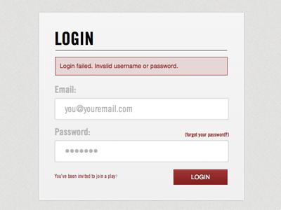 Application Login Form design app login form error error message red grey ui