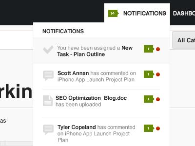 Notification Dropdown ui design notifications minimalistic menu
