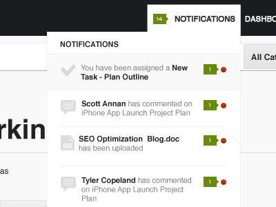 Notification Dropdown ui design notifications minimalistic menu