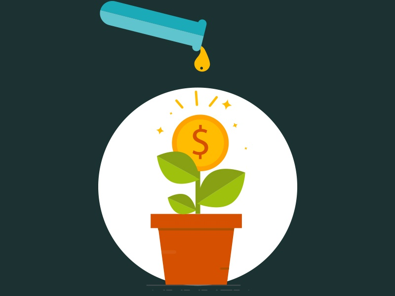 Business Growth Icon Illustration concept. background grow flat finance bank dollar growth