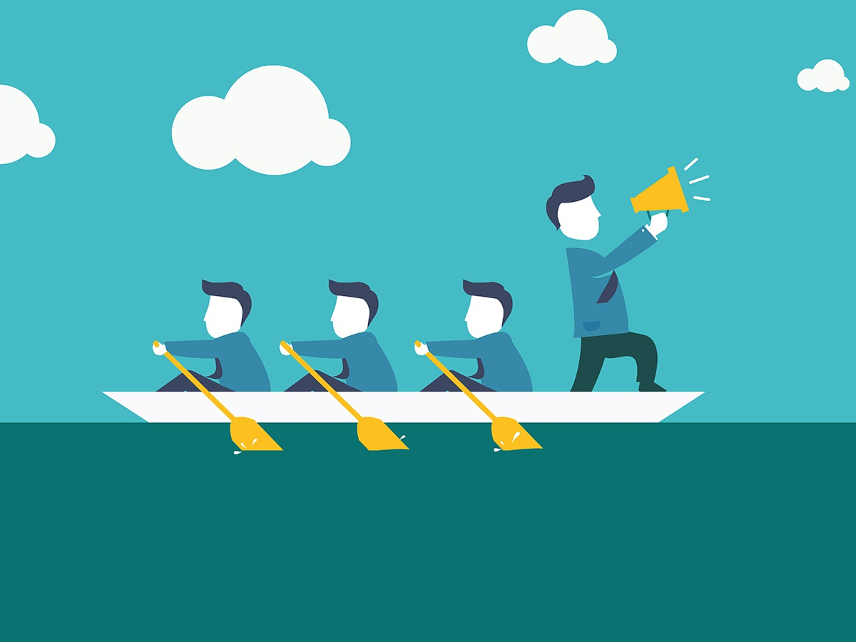 Perfect team manage illustration business office white water blue friend cloud announce manage team boat sea