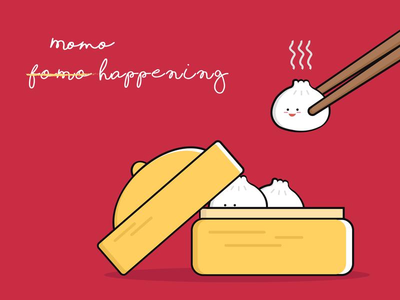 Momo's digital design food illustration vector artwork adobe illustrator fear of missing out dumplings momo food illustration