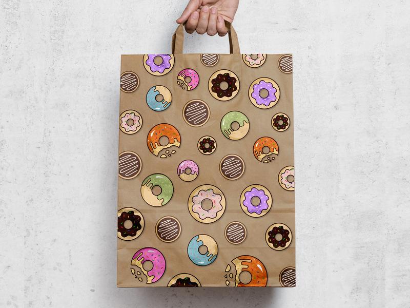Packaging Design food illustration food brand visual design illustration branding packaging packaging design print paper bag donut donuts