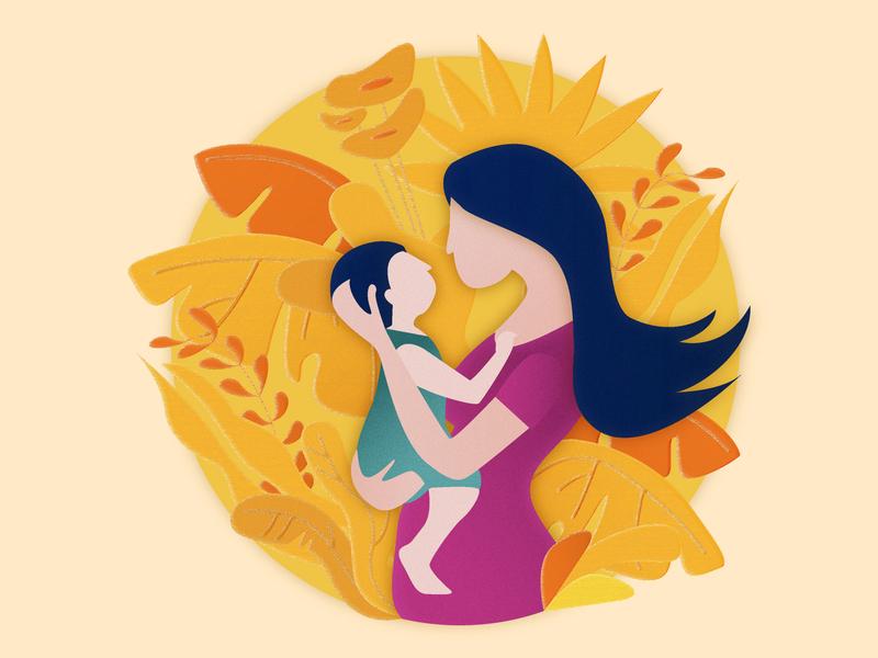 Mother Illustration vectordesign bond love child mother details design artwork vector adobe illustrator illustration